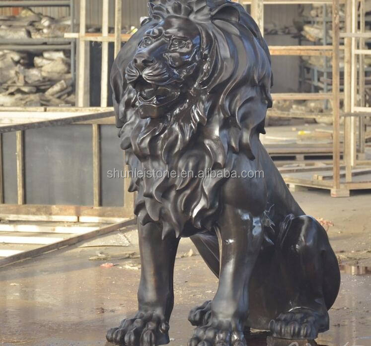 Black Marble stone lion Statue Carving
