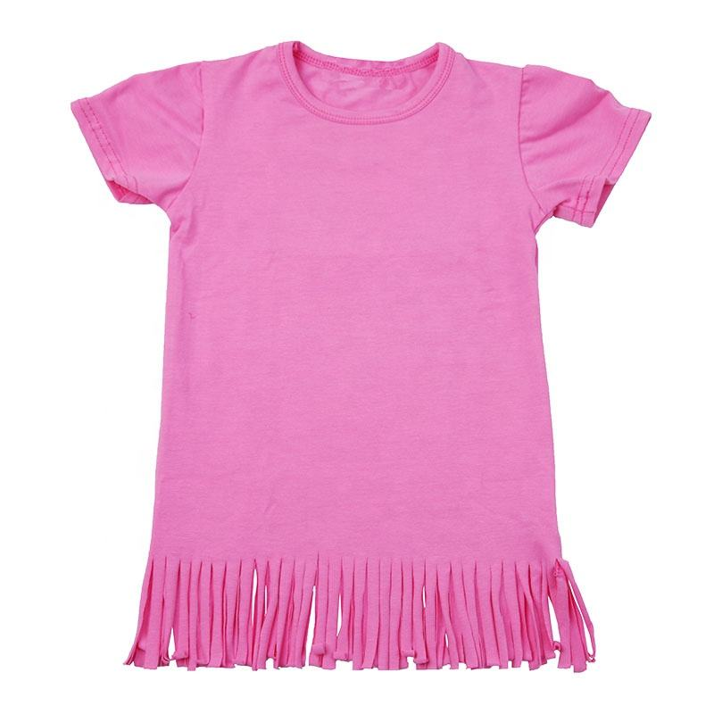 Kids Baby cute cotton short sleeve blouse fringe tees clothes casual newborn children blank girl tassel shirts