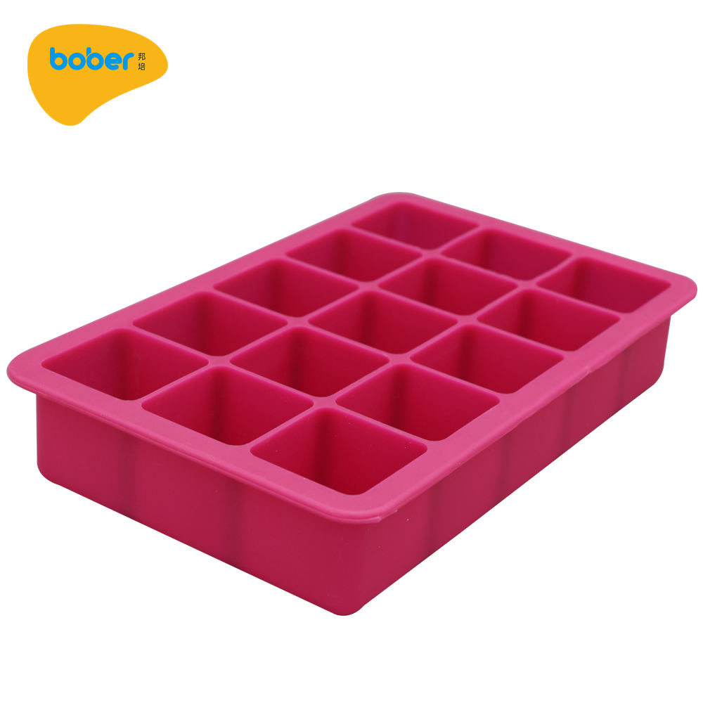 Hot Sale Direct Factory Silicone Ice Cube Tray Square shape FDA eco-friendly Silicone Ice Mold