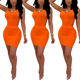 Super Fashion Orange Irregular Open Back Women Sexy Summer Casual Dresses Bodycon