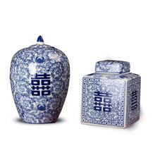 China style blue and white round and square double happiness porcelain jars for wedding