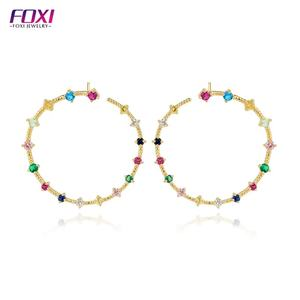 22 k 금 jewellery China factory wholesale 큰 size stud earring