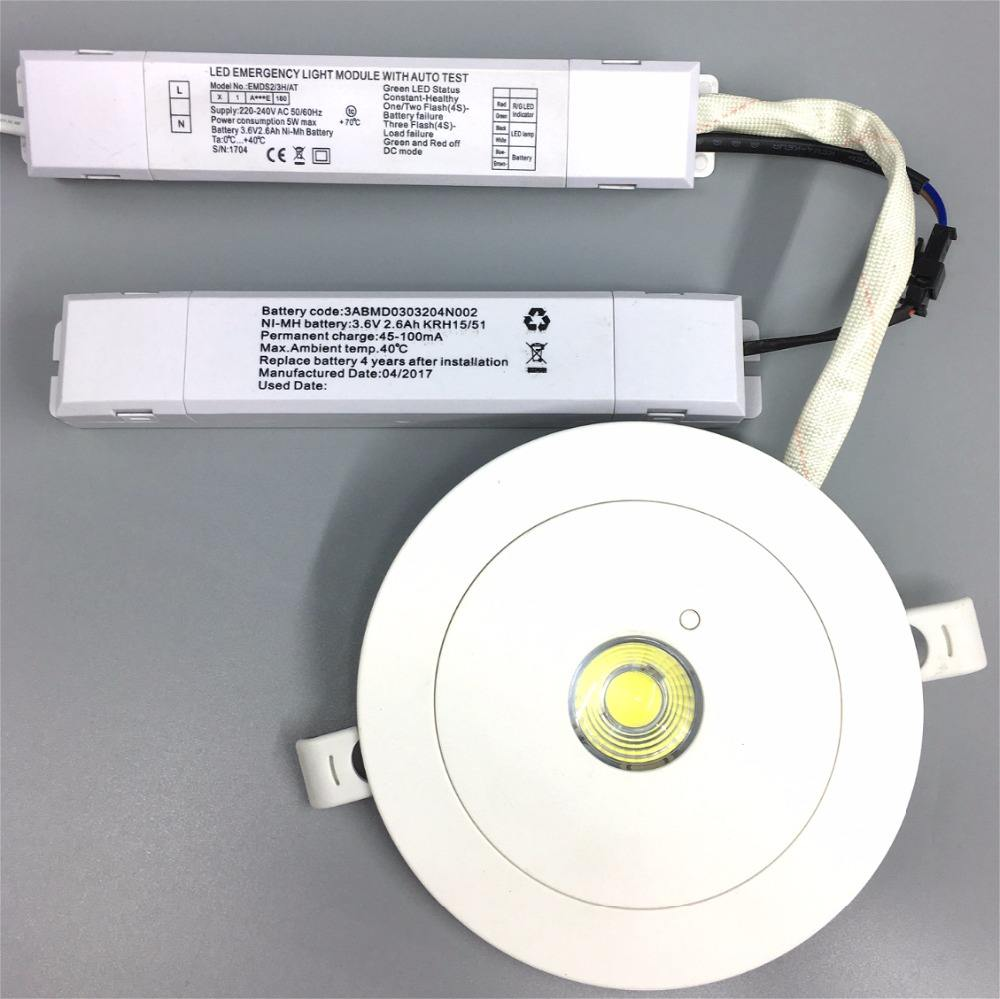 UFO round recessed mounted AC85-265V 3W led down light with emergency backup battery