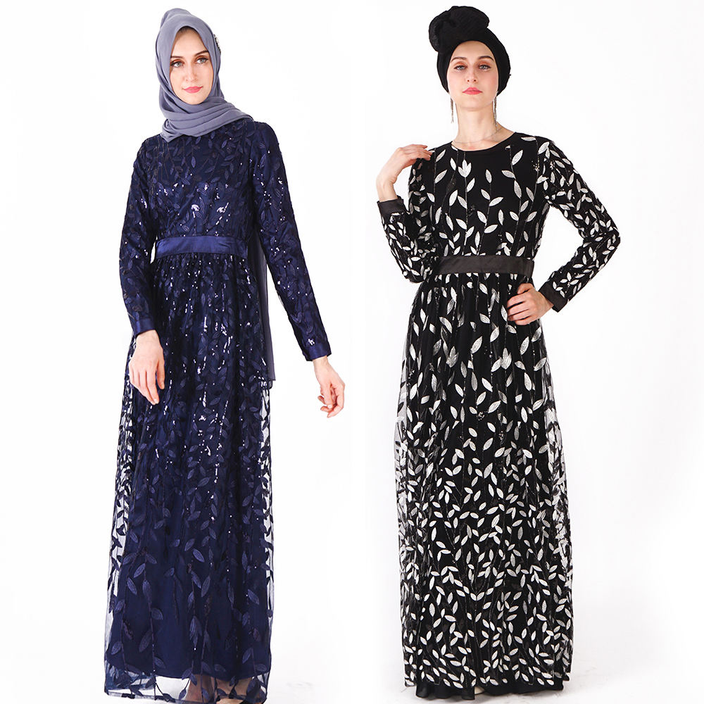 2019 Latest embroidery designs elegant leaf sequined pattern muslim prom dresses ladies abaya