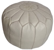 Wholesale of Moroccan White leather Pouffe Ottoman Footstool Pouffe handstitched Ottomans