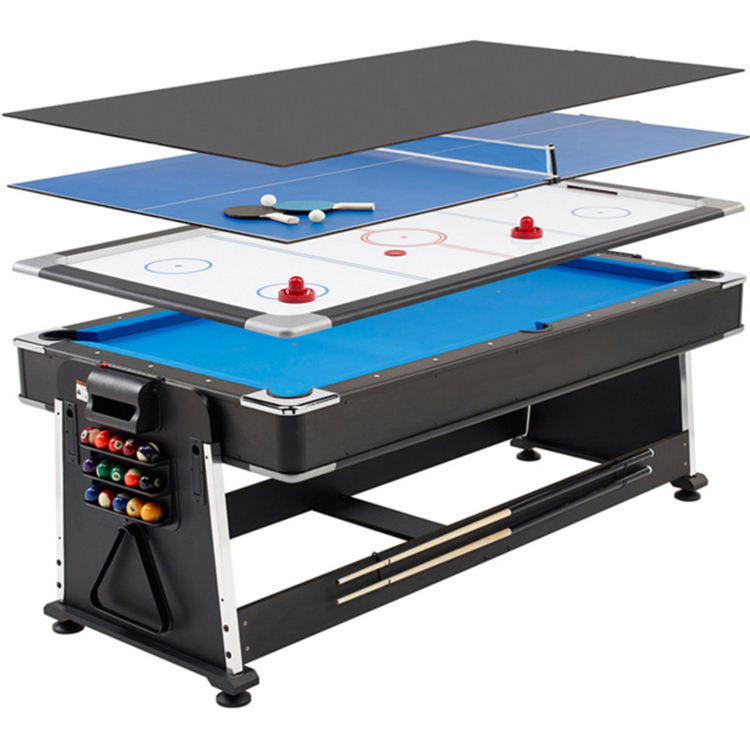 SZX 4 in 1 Modern multi game billiard pool table 7ft with air hockey tennis and dinning top for adult