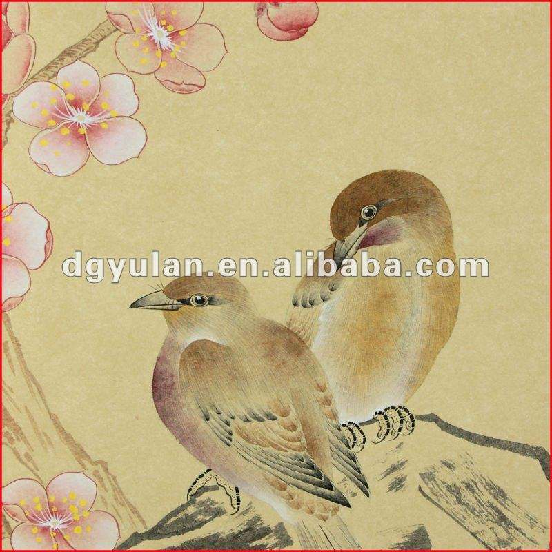 Gorgeous Flowers & Birds Hand Made Oriental Style Yulan Wall Paper
