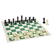 Value Tournament Chess Set - Filled Chess Pieces and Green Roll-Up Chess Board Vinyl