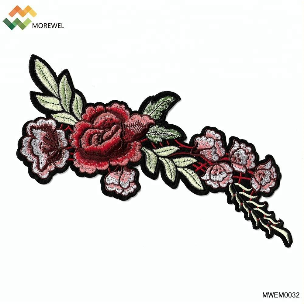 High quality 3D embroidered patch flower embroidery patch rose iron on clothing