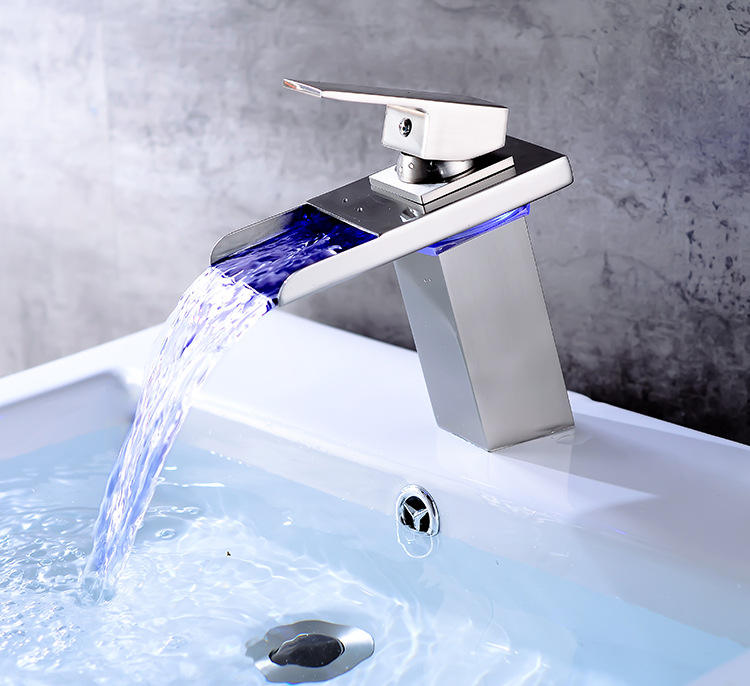 Homedec Colors Waterfall Bathroom Basin Water Kitchen Faucet Double Handles 3 Holes LED Light Mixer Tap