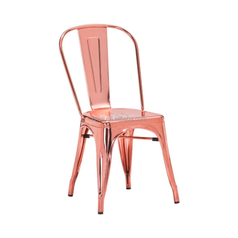 Wholesale metal stacking design chrome restaurant dining rose gold dining room furniture chair