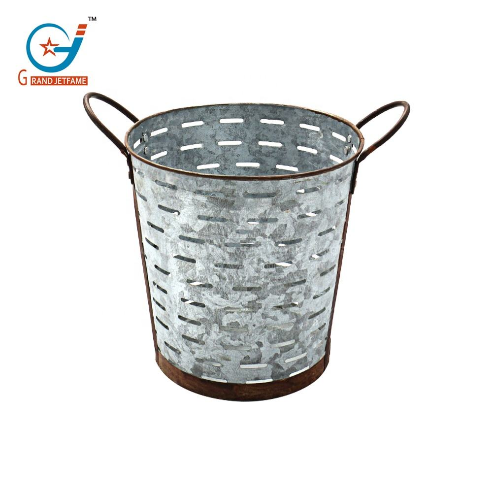 Rustic Florist Metal Olive Flower Buckets Vintage Decoration Galvanized Flower Pots Wholesale