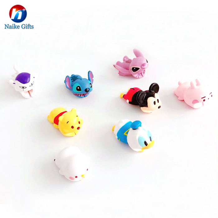 High quality Custom Cute Cartoon Animal Protector USB Rubber Cable Bite Set For Smart Mobile Phone
