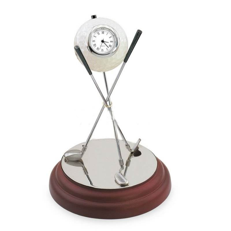크리스탈 Golf Clock Office 메트 vintage Desk Sets