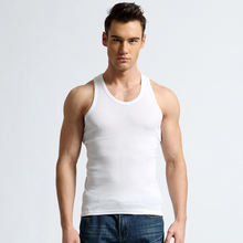 Hot Selling Cheap Breathable Comfortable Cotton White Sports Fitness Mens Vest