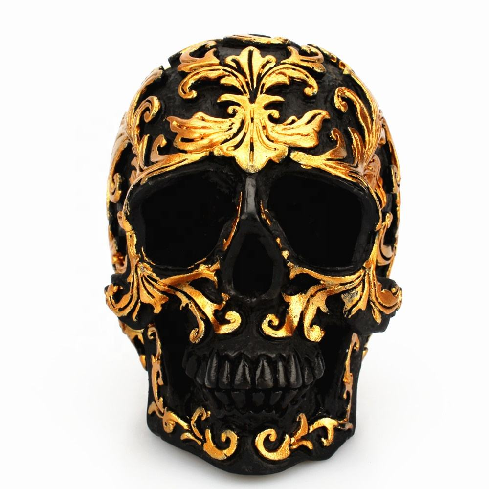 Golden trumpet flower skull ornament creative resin black spoof skull desktop decorations CP192
