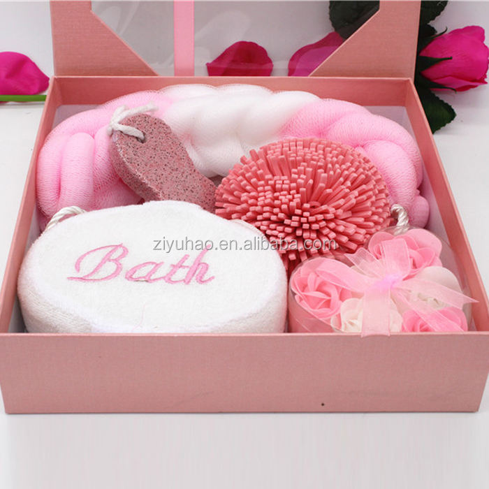 Newest fashion design pink valentine bath gift box set