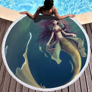 Hot selling 2019 amazon microfiber large round mermaid towel personalized blanket promotion logo mat