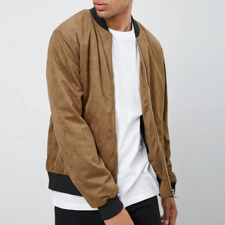 <span class=keywords><strong>Uomini</strong></span> custom bomber giacca peso leggero pelle scamosciata del faux zip up giacca bomber