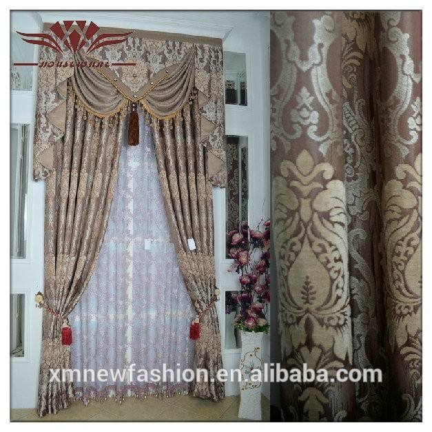 De moda cortina de francés, cortina de ventana del telar jacquar del panel, cortina conjunto con la cenefa y el respaldo