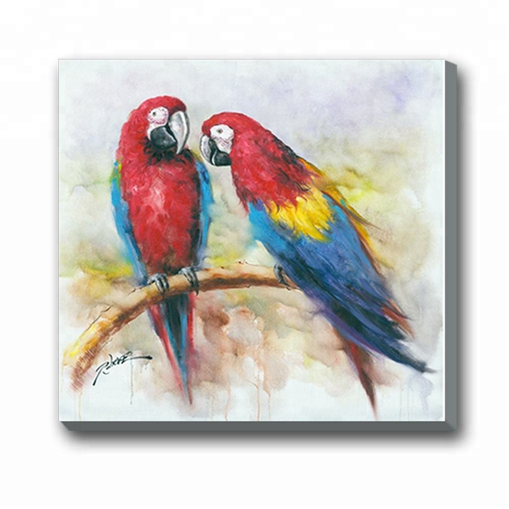 Moderne Mooie Animal Wall Art Papegaaien Canvas Olieverf voor Decor
