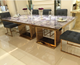 DH-1447 Impor restaurant furniture from foshan china quartz top marble stainless steel dining table