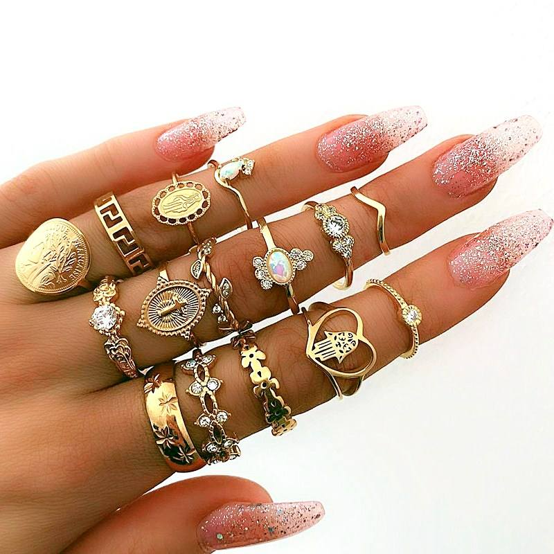 15Pc/set Retro Palm Heart Coin Star Knuckle Ring Sets Gold Color Gem Crystal Joint Ring For Women Personality Jewelry