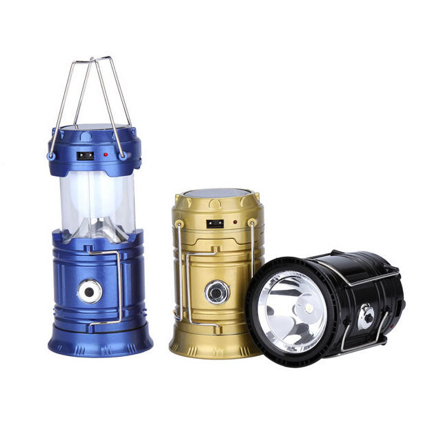 2019 new multi function rechargeable flashlight led solar pop up camping lantern