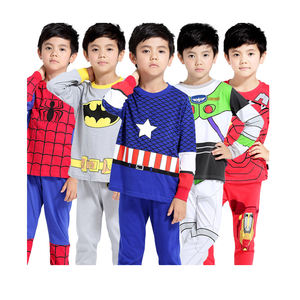 wholesale cotton long sleeve super hero kids pajamas sleepwear set