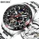 BOYZHE Luxury Stainless Steel Luminous Automatic Mechanical Skeleton Tourbillion Wrist Watch for Men