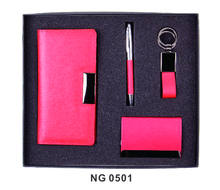 Fancy PU Leather Souvenir Promotion Business Card Holder and Pen Gift Set With Customized Printing