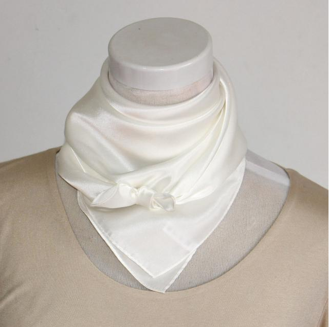 Customized 100% Pure White Silk Satin Scarf