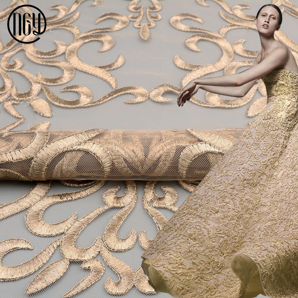 Economic and reliable polyester mesh indian embroidery rose gold fabric for dresses