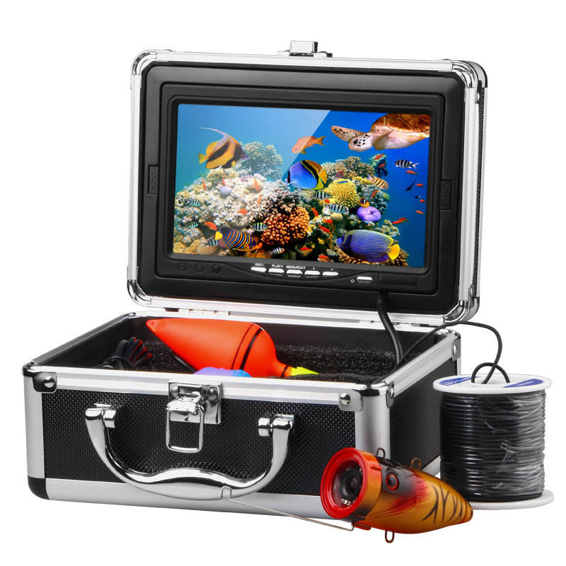 "High quality Fish Finder 7"" TFT LCD HD 1000TV 15M Underwater Fishing Camera System Kit With 12Pcs White LED Lights"