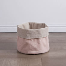 Pink foldable collapsible canvas easter bread collecting hamper weave small fabric storage basket bin wholesale