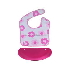 Waterproof PEVA Baby Bibs With Detachable Food Pocket