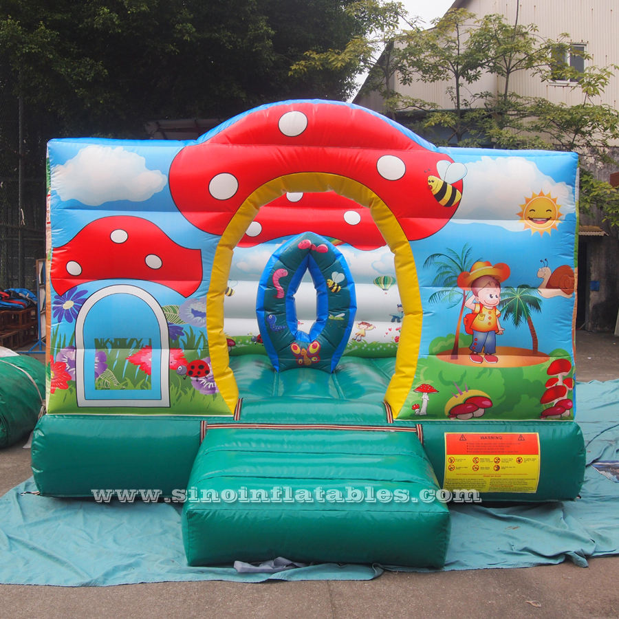 Small paradise indoor kids mini bouncy castle with complete printing made of lead free pvc tarpaulin