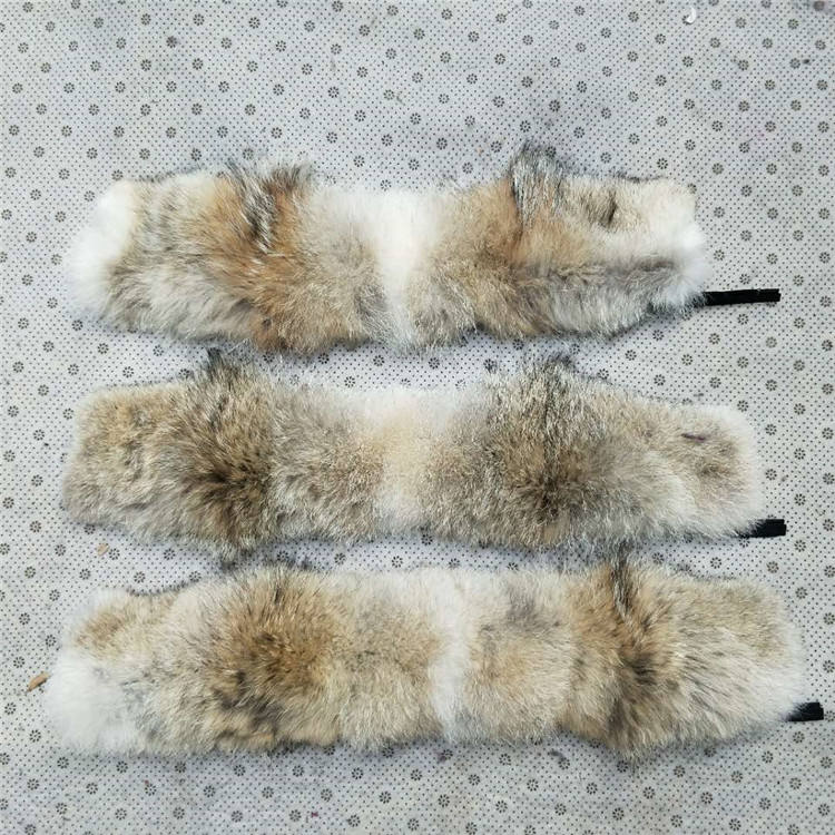 ALICEFUR Wholesale customized real coyote fur trim strips for collar parka hood trimming
