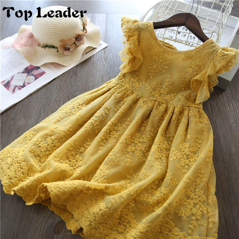 Top leaderGirls Dress 2019 New Summer Brand Girls Clothes Lace And Flower Design Baby Girls Dress Kids Dresses For Girls Casual