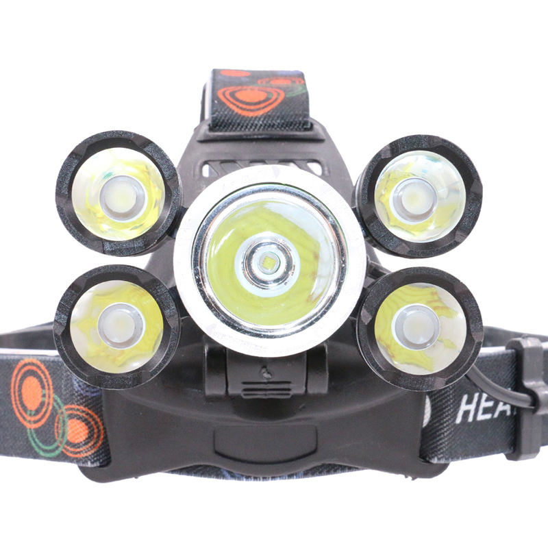 2019 New high power usb rechargeable 8000 Lumen 5 T6 LED Headlamp 4 Modes Head Light Lamp LED Headlight