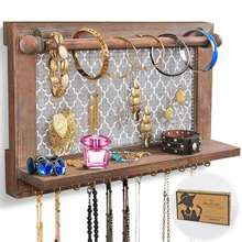 Rustic Wall Mounted Wood Jewelry Organizer Holder with Hooks Shelf for Hanging Earrings Necklaces Bracelets Other Accessories
