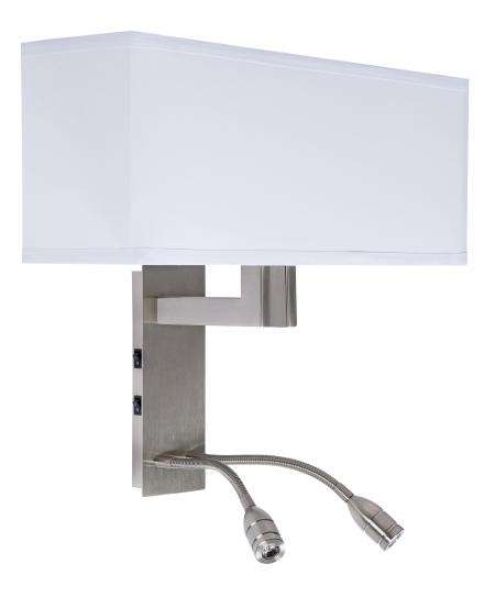 America Style Hotel Guest Room Wall Lamp Indoor With 3W LED Reading Light And White Lamp Cover