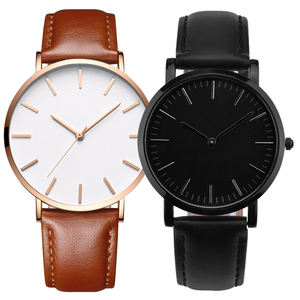 Quartz Minimalist Custom Brown Black For Men Genuine Leather Watch