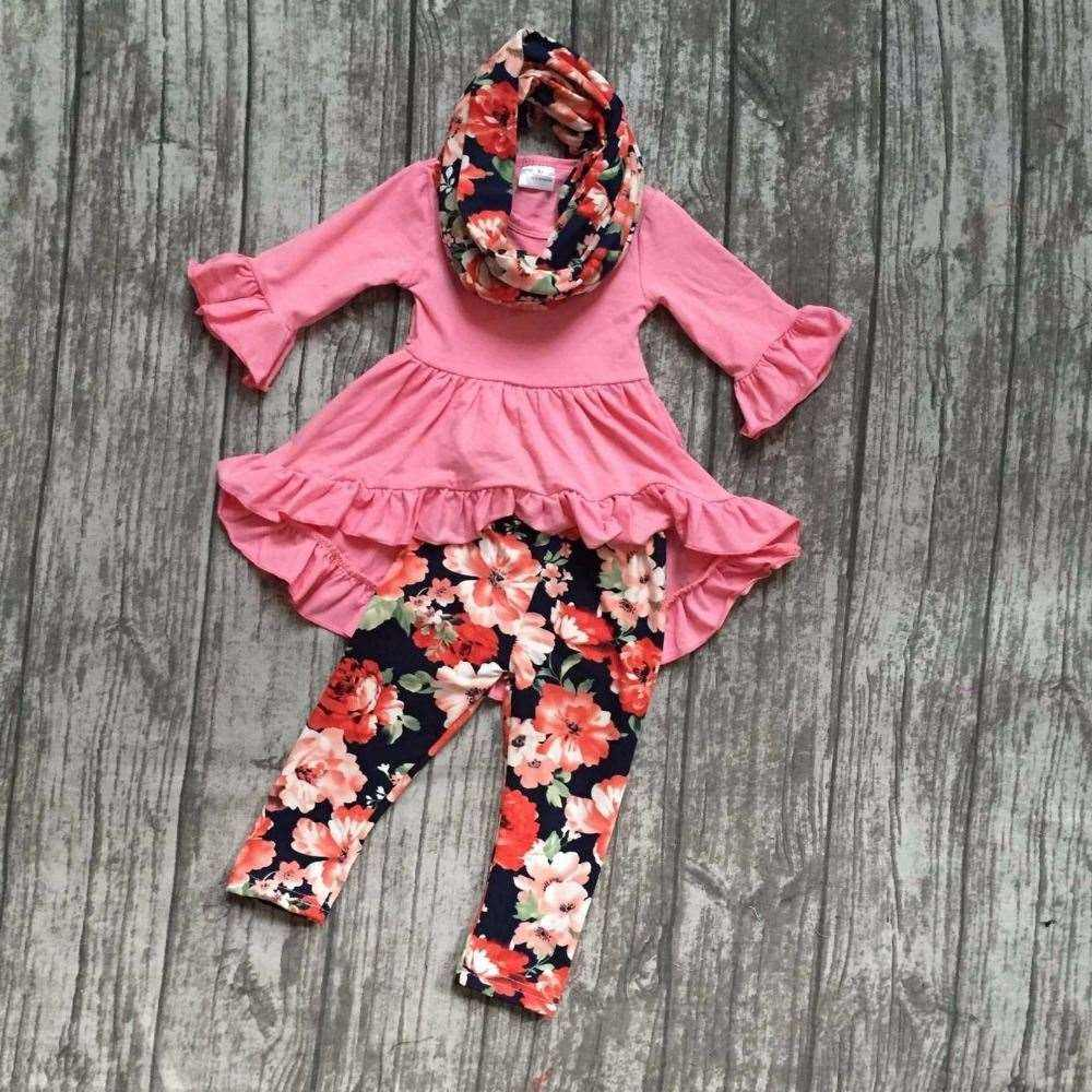 FALL/Winter 3 pieces coral scarf set children baby girls floral flower ruffle cotton dress top silk milk pants boutique clothes