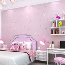modern beautiful lovely pink embossed nonwoven cartoon character hello kitty wallpaper 3d kids room