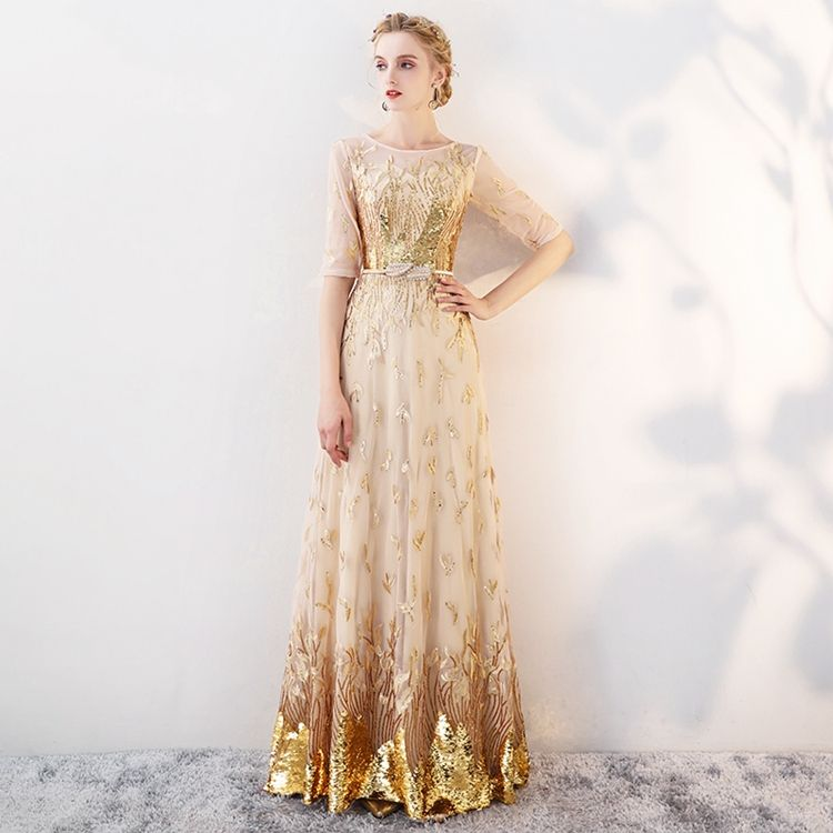 Half sleeve o-neck embroidery zipper back prom dresses gold sequins prom dress