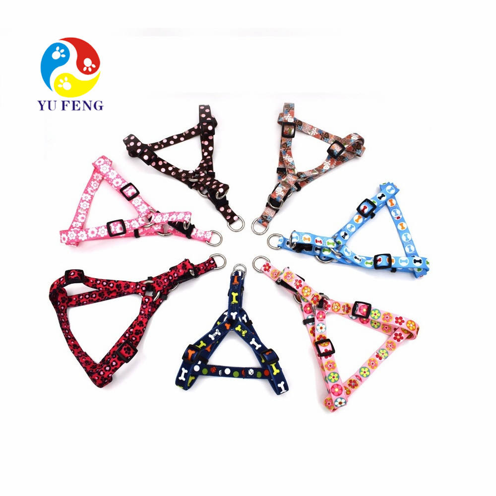 Factory Nylon 22 Color Option Adjustable Printed Dog Harness