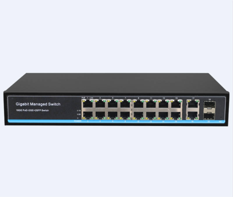 Porta do switch de rede 20 L2 conseguiu 300w 16 porta sfp gigabit switch poe com 2 2 utp