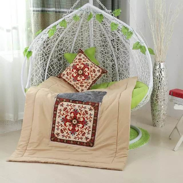Sofa Square Chair Embroidered cushion with quilt home decorative, cotton pillow for Bedroom or Outdoor