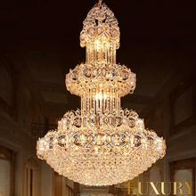 Modern Customized Luxury Large Pendant Light Crystal Chandelier With S Gold Finished For Hotel Lobby Decor